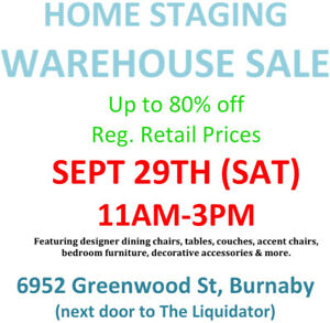 Sat. Sept 29th !! Warehouse Sale Home Staging Furniture Sale