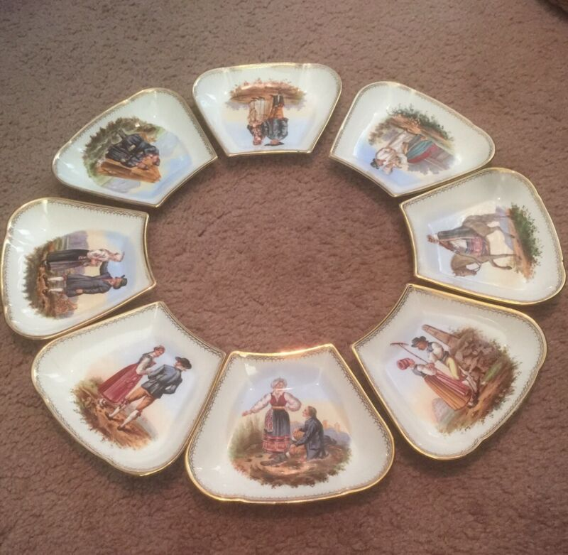 Antique Vintage Rorstrand Porcelain Set Of 8 Dishes Hand Painted! Gorgeous! Rare