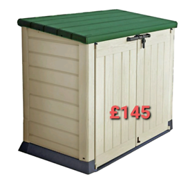 Keter plastic garden storage box wheelie bin holder