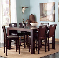 NEW Espresso Counter Height Dining Set with Leaf Extension