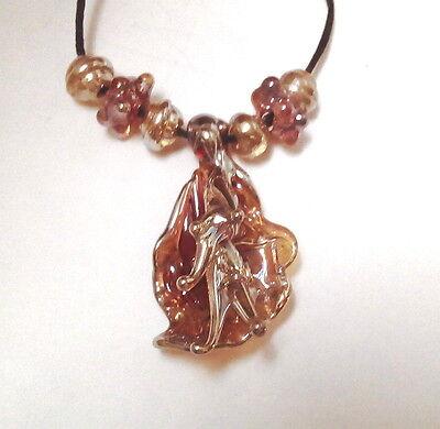 LNT- Handmade Lampwork Beads - FIRE ORCHID - BORO beads  - nc2460 - DIY Jewelry