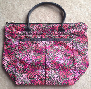 LeSportsac Small Everygirl Tote Bag Lavender Fields Pink Grey