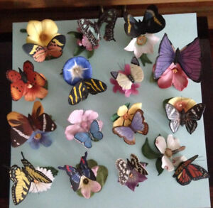 Franklin Mint butterflies on Flowers... full collection!