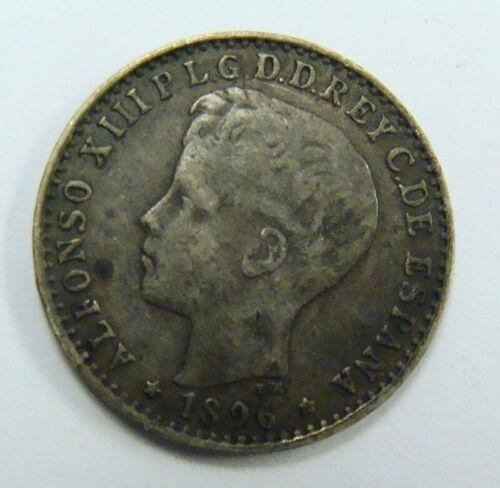 1896 PUERTO RICO 10 CENTAVOS ALFONSO XIII KM# 21 - VF - GUARANTEED GENUINE