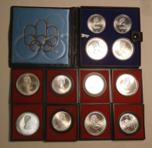 Lot of 12 Canadian Montreal Olympics $5 & $10, Cheap Silver 0611-16