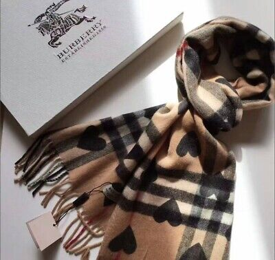 Burberry 100% cashmere scarf with black hearts