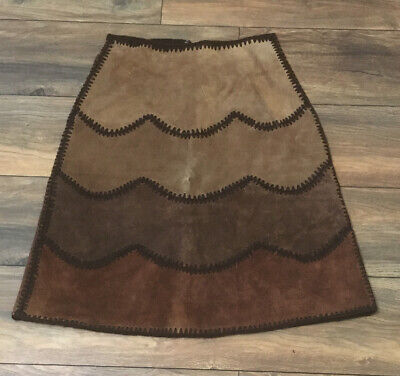 5 Browns Suede Nubuck Leather A-Line Skirt Dark Brown Accent Stitch Size Small