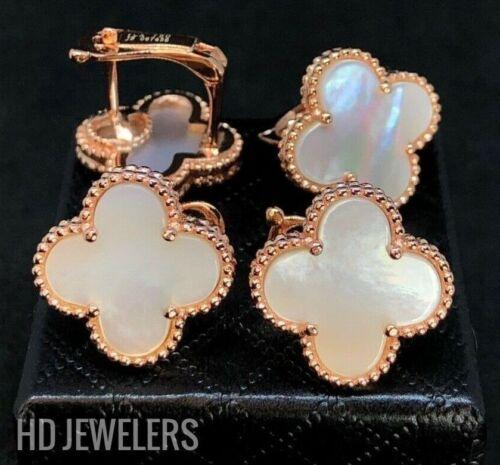 White Mother Of Pearl Four Leaf Clover Rose Gold Flower European Stud Earrings