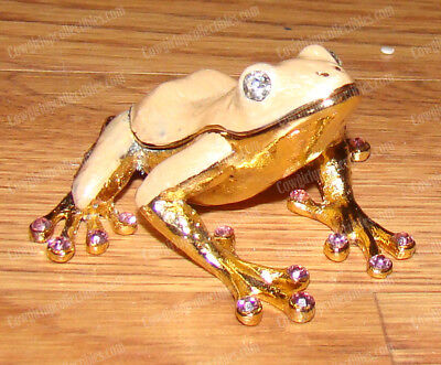 Bejeweled Frog - BeJeweled Pink Tree Frog (Wildlife, 4004P) Baked Enamel Trinket Box