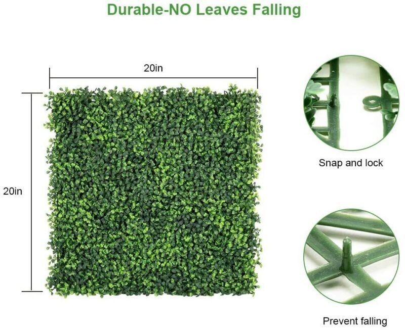 "6PCS /12pcs 20"" x 20"" Artificial Boxwood Panel Fence Hedge Greenery Decor Grass"