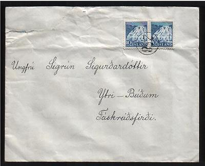 ICELAND Numeral Cancel 258 HALLORMSSTAÐUR on Domestic Cover RARE DAKA 5000 on Rummage