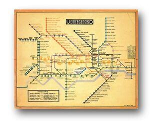 LONDON UNDERGROUND MAP Harry Beck 1933 - Design ART. 10x8