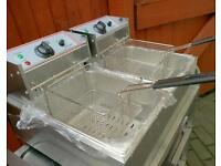 Commercial Electric Double deep fat fryer catering equipment - Brand New -