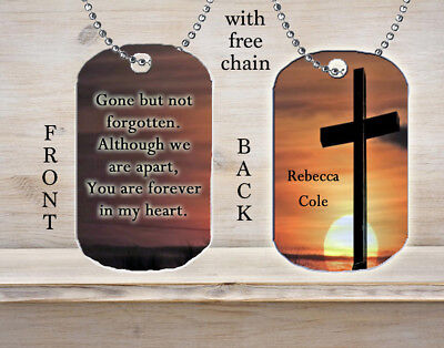 Personalized Custom Necklace Dog Tag Memorial Gift Gone But Not Forgotten Always