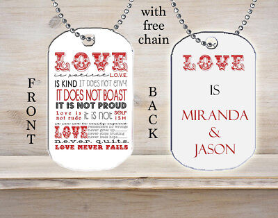 Personalized Custom Necklace Dog Tag Love is Patient Kind Never Fails Gift Idea