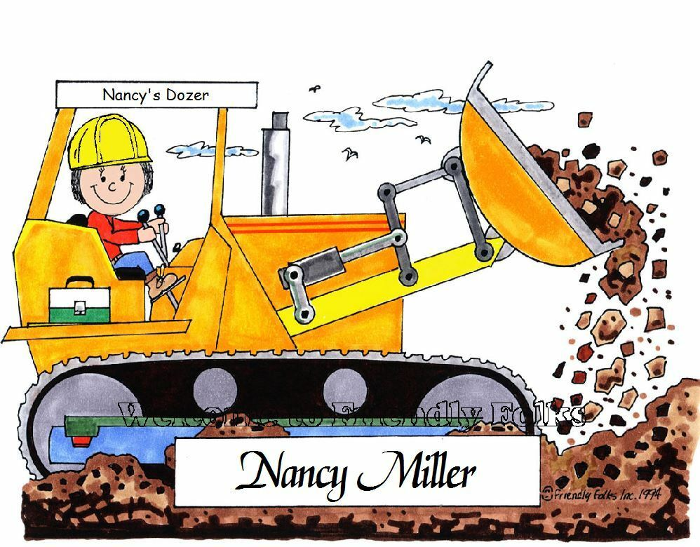Small Personalized Bulldozer Picture - Makes A Great Gift  - $8.50