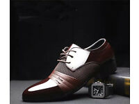 Mens Smart Oxford Style Leather Pointed Shoes Formal Wear Wedding Business Executive Shoes