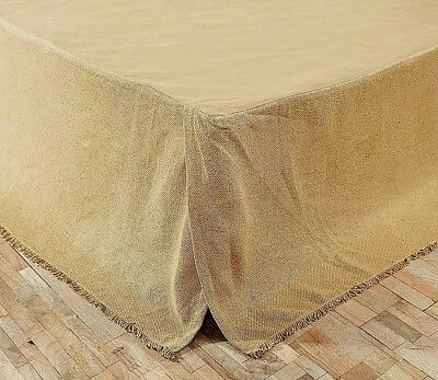 Rustic Burlap Bed Skirt Fringed Edge Flat Panel Natural Tan Cotton Split Corners