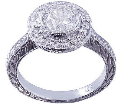 GIA I-SI1 18k White Gold Round Diamond Engagement Ring Bezel Set Art Deco 1.20ct 3