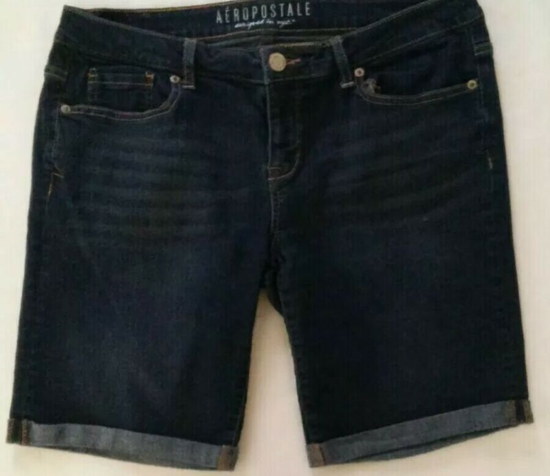 WOMEN AEROPOSTALE BERMUDA CUFFED COMFY STRETCH DARK BLUE DENIM JEAN SHORTS SZ 12