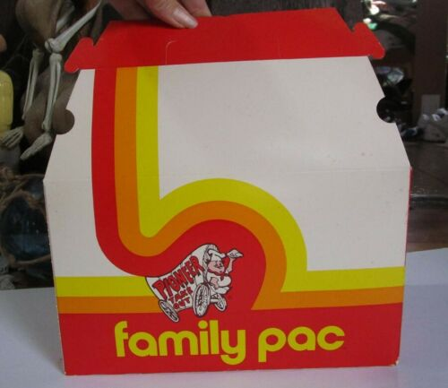 Vintage Pioneer Chicken Take Out Box Un-used Golden Family Pac 1983 advertising
