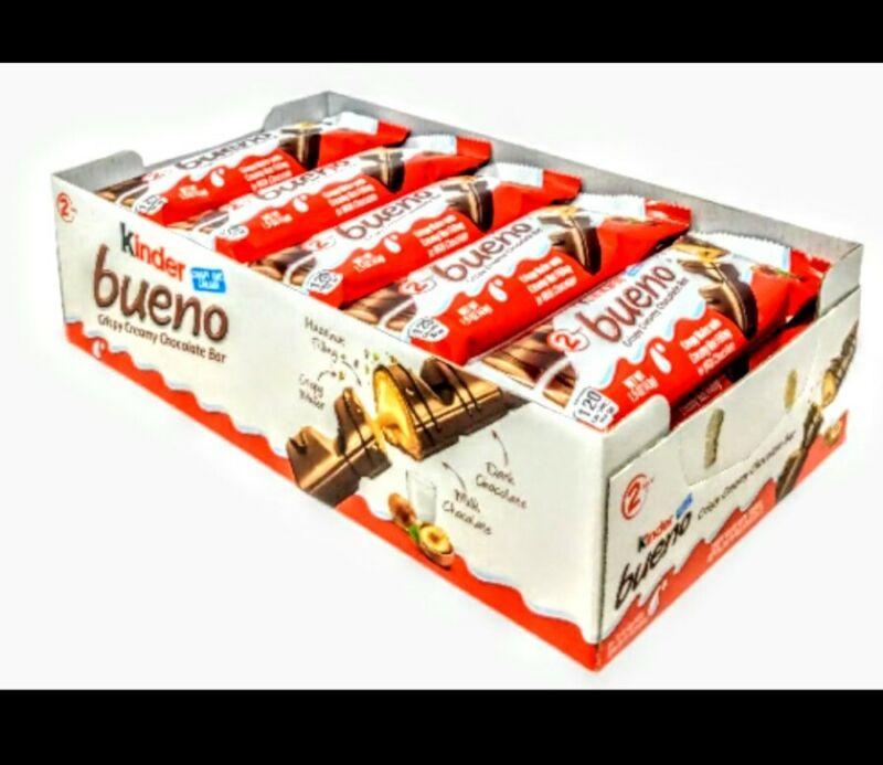 Kinder Bueno Milk Chocolate & Hazelnut Cream Candy Bar, Case of 20,exp