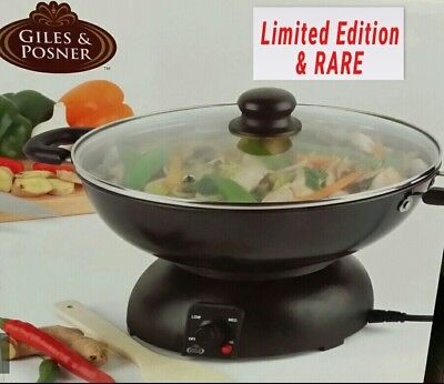 Giles & Posner ELECTRIC WOK  WITH GLASS LID STIR FRY ORIENTAL  COOKING