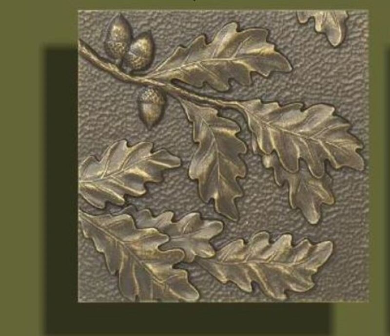 """Arts and Crafts Bronze Tone Oak Leaf Tile by Whitehall 8"""" x 8"""""""