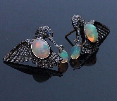 Gemstone Fiery Opal BIRD Earrings Sterling Silver Pave Diamond EXCLUSIVE Jewelry