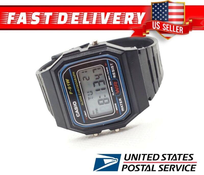 a90c1678fdbc New CASIO F91W-1 Classic Black Resin Digital Chronograph Sport Unisex Watch  Best Offer + Free shipping