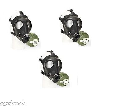 (3) Israeli Gas Mask Military NBC NATO 40mm Filter Disaster Emergency Survival