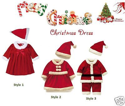 Childrens Santa Outfits (NEW 2PCS BABY BOY GIRL KIDS CHRISTMAS SANTA OUTFITS DRESS VELOUR FAUX FUR)