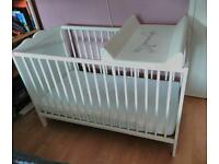 Ikea Baby cot bed with mattress and changing unit