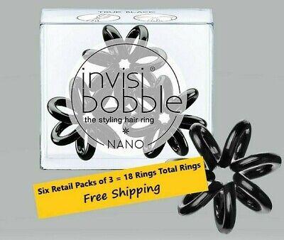 6 Retail Packs (18 Pcs Total) INVISIBOBBLE NANO TRUE BLACK TRACELESS HAIR RING
