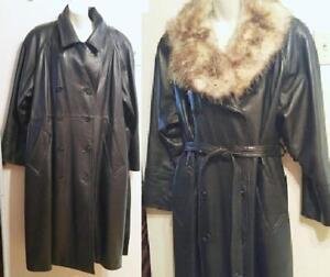NEW Oakville  XL XXL 18 20 22 1X 2X $2500 LEATHER BLACK  WOMENS TRENCH COAT CANADA FUR OLD HIDE HOUSE OHH DEADSTOCK
