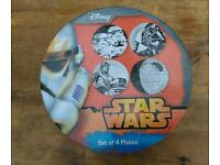 Star Wars Plates - set of 4, boxed, never used, Disney merchandise