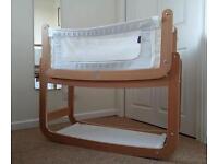SnuzPod Bedside Crib (Natural) with Mattress, 2 Sheets & Mattress protector
