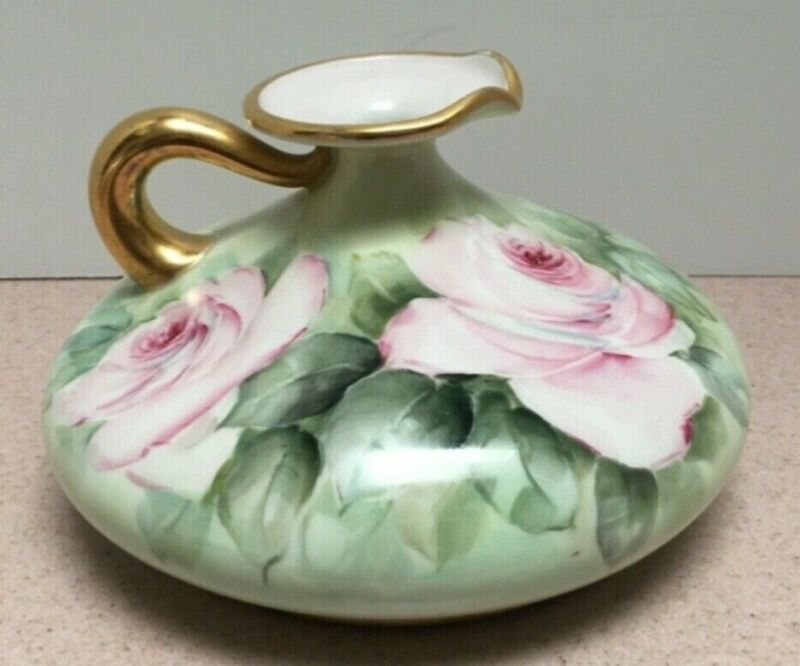 Antique French Large Squat Ewer Vase w/ lrg. Open Pink Roses & Gold Trim Limoges