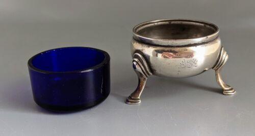 Antique London Arthur Sibley Sterling Silver Open Salt 1875 Cobalt glass liner