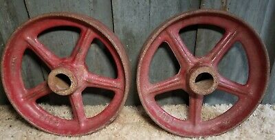 2 Vintage Cast Iron Wheels Casters 7 14 Diameter F292 Steampunk Antique