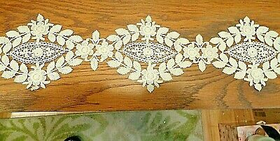 """WHITE SATIN INSERTION~TINY EMBROIDERED FLORAL~2/""""~BTY~DOLL TRIM~BABIES"""