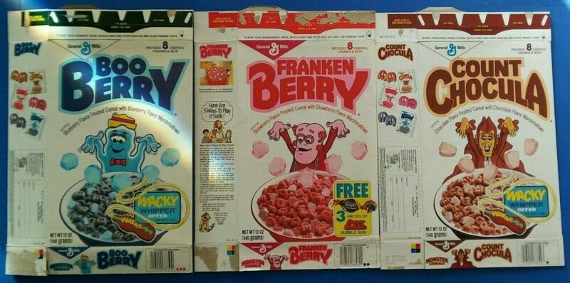 Count Chocula Franken Berry Boo 86/87 monster cereal box lot 3 boxes Halloween