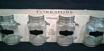 Circleware Yorkshire Chalkboard Mason Jar Glass Drinking Mugs 4 pc. 17.5 oz New