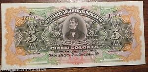Costa Rica PK# S122r ND 5 Colones Banknote