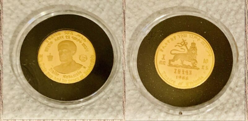 AN ETHIOPIAN SELASSIE I 1966 $10 GOLD COIN PROOF, KM-38