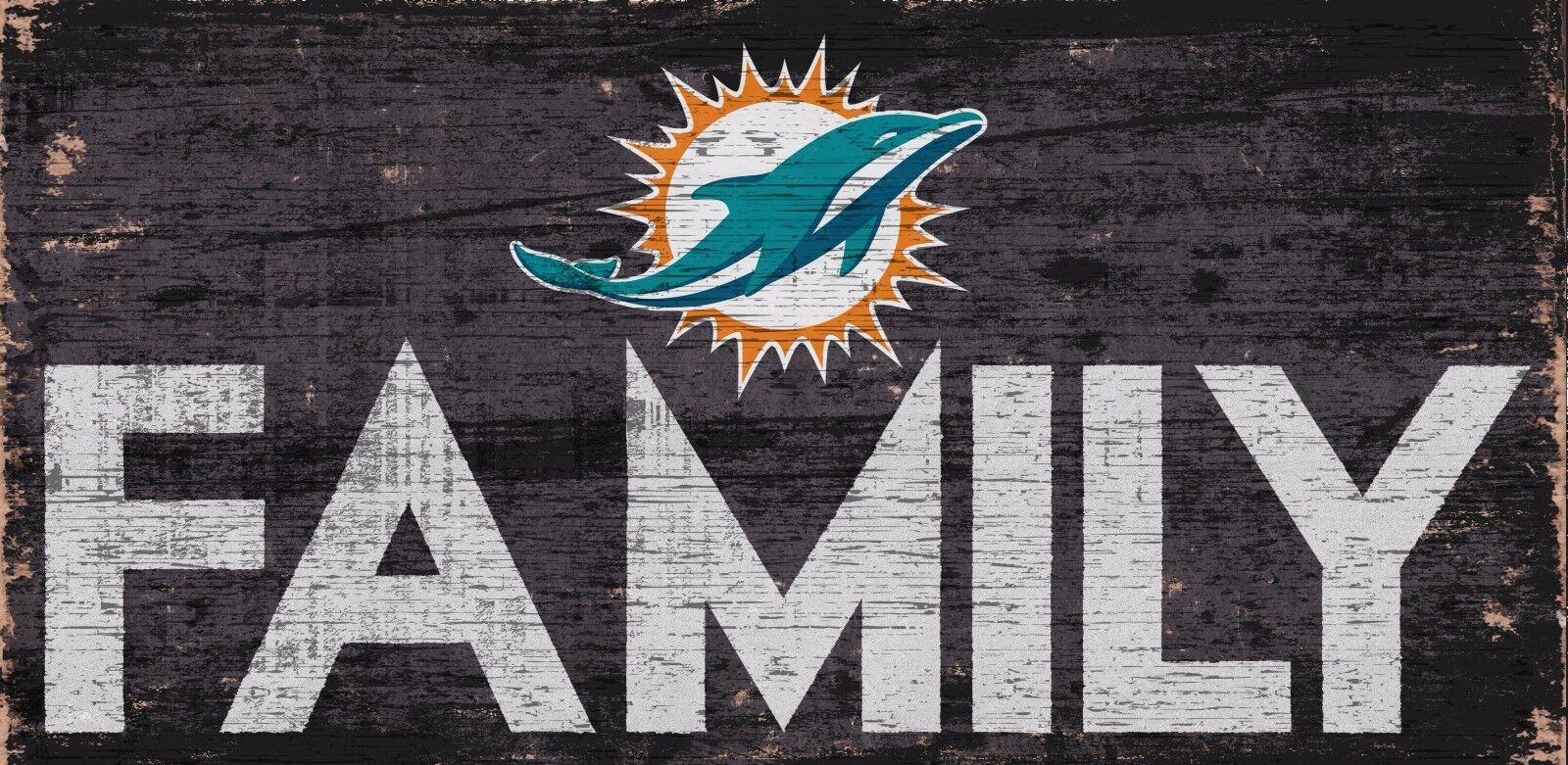 Miami Dolphins Familie Fußball Holz Zeichen - Neu 30.5cm x 15.2cm Deko Geschenk