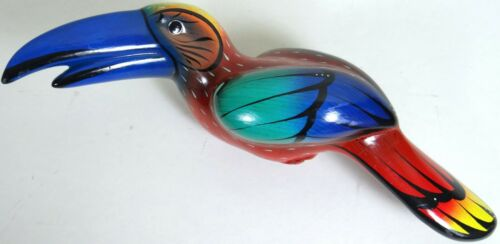 Large Pottery Ceramic Toucan Bird Figurine Brightly Hand Painted 12 in Parrot