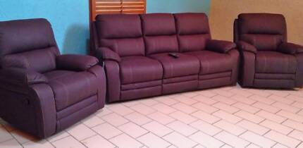 3 Seater Recliner Couch & 2 Recliner Chairs