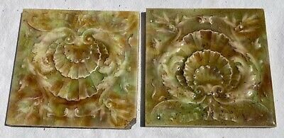 """Two ANTIQUE 6"""" x 6"""" Green Glazed Floral Tiles"""