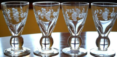 Vintage Set 4 BALL STEM Hand Blown CORDIAL APERITIF GLASSES Etched Flowers 4""
